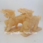 Cặp Kỳ lân phong thủy đá ngọc Hoàng Long N041